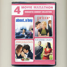 4 romantic movies, new DVDs About Boy, Prime, Wedding Date, Intolerable Cruelty