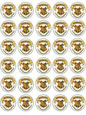 30 Harry Potter Hogwarts Crest Birthday Edible Rice Paper Cake/Cupcake Toppers