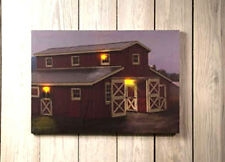 Country Primitive RED HORSE BARN Window Lantern Lighted Candle Canvas Picture