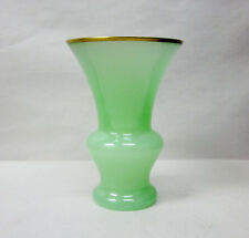 Vintage Art Glass French Jade Opaline Cenedese Murano Gold Accent Vase