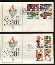 First Day Cover #C104a & C112a Olympics 1984 W/ HAND COLORED Cachet Back Signed