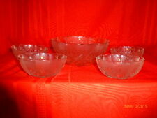 Vintage Glass serving bowl set berry  salad bowls unmarked clear glass Lot of 5