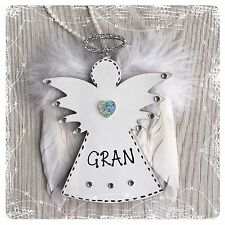Personalised Wooden Angel Decoration Feather Wing Shabby Chic GRAVE Memorial