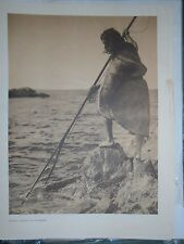 "Nootka Spearing by Edward S. Curtis - Original large 14 X 18"" photogravure"