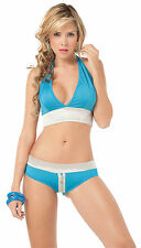 2079 Gogo Rave Blue Silver Zipper Bikini Halter Exotic Dance Club wear S M L