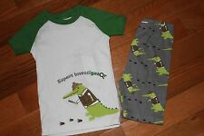 NWT Gymboree Gymmies Sz 6 Green Investigator Gator Pajamas Shorties Sleepwear