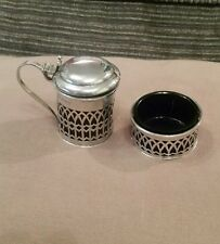 Solid Silver Mustard pot and open salt