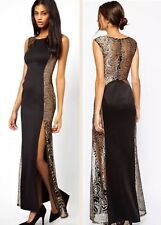 Lipsy Black & Gold Glitter Lace Long Size 10 Maxi Dress Gown VIP Party Wedding