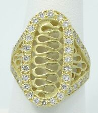 WOW 18K Yellow Gold JJ Marco 1ctw Diamond Modernist Swirl Ring Size 6.75 B1595