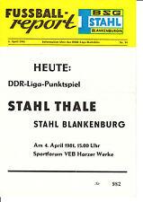 DDR-Liga 80/81 BSG Stahl Blankenburg - BSG Stahl Thale  04.04.1981