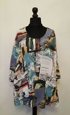 New ITALIAN QUIRKY LAYERING ABSTRACT SCRIPT pocket LaGeNLooK BOXY boho TOP 14-22