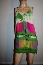 Sunflower Crochet Rayon Embroidered Tie Dye Cover-Up Dress EUC FS