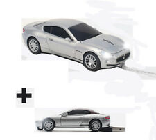 Click Car BUNDLE - Maserati GT Silver Wired Optical Mouse + 4GB USB Memory Stick