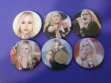"Avril Lavigne New Set Of 6 Large 2 1/4"" Buttons Pins"