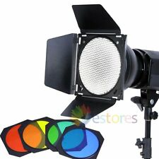 Bowens Mount Standard Reflector With Barn Door Grid Kit For Studio Strobe Flash