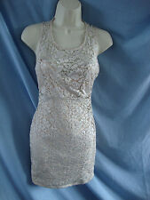 CREAM LACE SLEEVELESS DRESS - RIVER ISLAND - SIZE 10