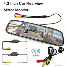 4.3inch LCD Mirror Monitor Wireless + Car Reverse Parking Camera 170° Wide Angle