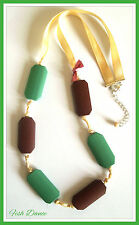 MONSOON ACCESSORIZE MINT GREEN & CHOCOLATE WOODEN BEAD RIBBON THONG NECKLACE.