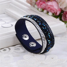 ELEGANT LEATHER Slake BRACELET MADE WITH SWAROVSKI CRYSTALS - BLACK AND BLUE