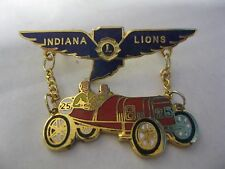 Lions Club Pin Indiana Car Dangling from Wings Vintage Rare