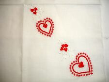 Vintage Valentine Handkerchief- Embroidered Red Hearts & White Stems/Leaves