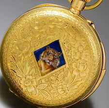 RARE 18K GOLD MINUTE REPEATER POCKET WATCH ENGRAVED ENAMEL TIGER CASE CA1890