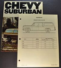 1977 Chevrolet Suburban Truck Dealer Data Book Section Brochure Excellent Orig