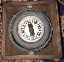 Vintage Bronze WILCOX & CRITTENDEN Small Ship Boat Compass with Dovetail box