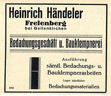 Heinrich Händeler Frelenberg BEDACHUNG- BAUKLEMPNEREI Historische Reklame 1926