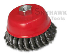 """New 4"""" x 5/8"""" Knot-Type Fine Wire Cup Brush Fits 4-1/2"""" Angle Grinder"""