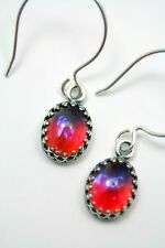 Dragon's Breathe Petite Sterling Silver Earrings Whimsy Mexican Fire Opal Mystic