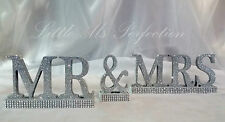 SILVER  GLITTER DIAMANTE EFFECT MR & MRS WEDDING  TOP TABLE CANDY CART SIGN