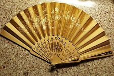 Antique Gold Painted Hand Fan, Beautiful Wooden Sticks, Ca. 1895