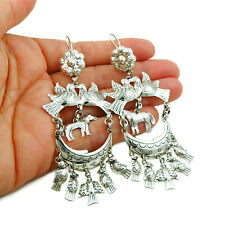 Long Designer 925 Sterling Silver Horse Chandelier Earrings