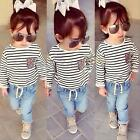 2pcs Kids Baby Girls Dress T-Shirt + Denim Pants Set Children Clothes Outfits
