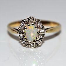 Opale & Diamante 9ct Oro Giallo Anello Di Cluster Taglia S ~ 9 1/4