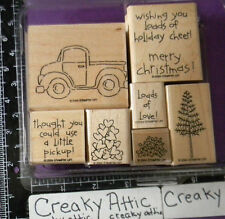 STAMPIN UP LOADS OF LOVE 7 RUBBER STAMPS TRUCK TREE CHRISTMAS HEARTS