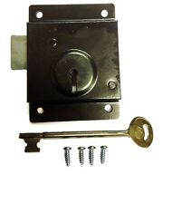 Door Press Rim Lock Traditional Old Style Latch Shed Door Security Fixings 75mm
