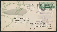 SI #242B W/ #C18 ON ZEPPELIN FLIGHT FDC BY LINPRINT MIAMI TO CHICAGO BR2407