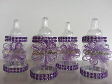 12 Purple Fillable Bottles for Baby Shower Favors Prizes or Game Girl Decoration