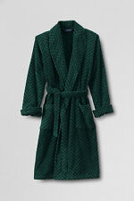 NWT Lands End Mens Turkish Terry 100% Cotton Calf Length Herringbone Robe M $109