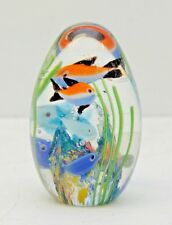 Vintage Egg Shape Murano Glass Fish Paperweight Nemo Seaweed Oval Colorful Clear