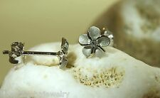 6mm Hawaiian Rhodium Over Sterling Silver Plumeria Flower CZ Post Stud Earrings