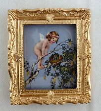 Dolls House Miniature Accessory Cherub & Birds Nest Picture Painting Gold Frame