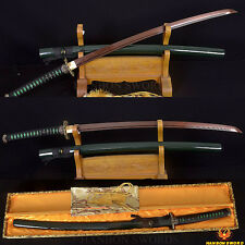 HANDMADE Japanese Samurai KATANA Sword Damascus Black&Red Steel FULL TANG Blade