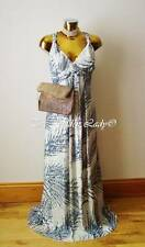 Bnwt Monsoon Silver & Blue Shimmery Maxi Full Length Evening Dress Size 22,Eur50