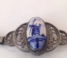 "Vintage Antique Delft Sterling Silver Bracelet 835 Jewelry 7"" Windmill Blue"