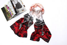 High Quality Digitally Printed Long Silk Scarf Black & Red  Floral Print DCC030