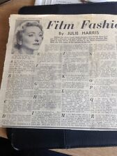 L2-1 Ephemera 1956 Article Julie Harris Fashion Adviser Rank Film A - Z