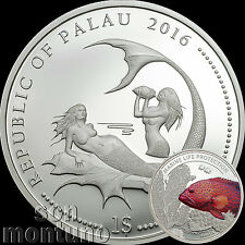 2016 Palau $1 - CORAL HIND FISH Marine Life Protection Silver Plated COPPER Coin
